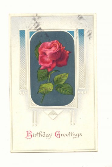 BIRTHDAY GREETINGS, SINGLE RED ROSE 1911 VINTAGE Postcard #524
