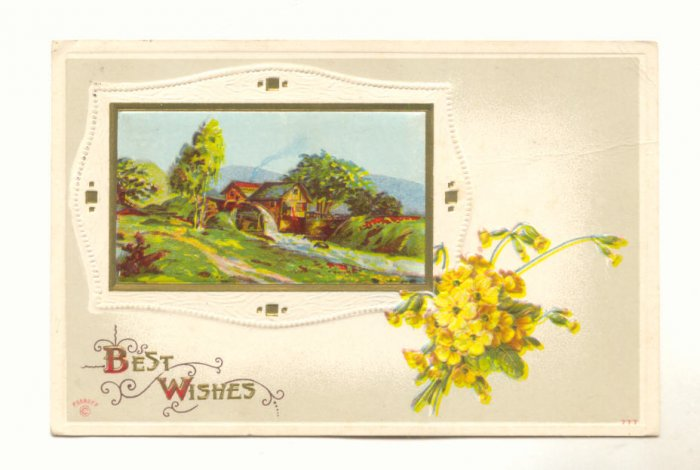 Best Wishes, Beautiful Country Scene, Gold Vintage 1912 Postcard  #532