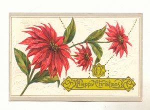 A Happy Christmas, Large Poinsettia Vintage 1912 Postcard # 533
