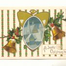 A Joyful Christmas, Gold Bells, Church Scene, Holly Vintage Postcard # 543