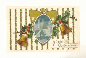 A Joyful Christmas, Gold Bells, Church Scene, Holly Vintage Postcard # 543
