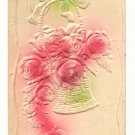 Heavily Embossed, Basket of Roses, Hand Tinted Postcard #545
