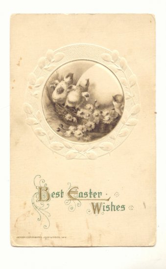 Best Easter Wishes  Chicks  Large Egg Flowers VINTAGE POSTCARD #547