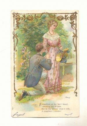 Romantic Couple Man Proposing Verse Vintage Postcard #550