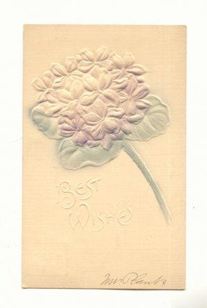 Heavily Embossed, Bouquet of Violets Vintage 1907 Postcard #553