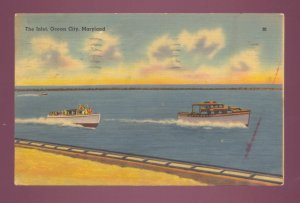 The Inlet, Ocean City, Maryland Vintage 1941 Postcard #555