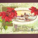 John Winsch BEST CHRISTMAS WISHES Poinsettia Winter Scene Vintage 1910 Postcard #556