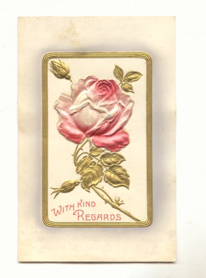 WITH KIND REGARDS Raised SILK Rose, Gold Vintage Postcard # 559