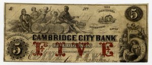 Cambridgeport, Cambridge City Bank, $5, Aug 1, 1858