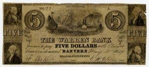 Danvers, Warren Bank, $5, May 10, 1847