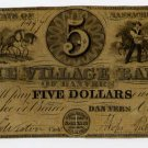 Danvers, Village Bank of Danvers, $5, Oct 7, 1849