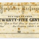 East Templeton, Templeton Exchange, 25 Cents, 1858