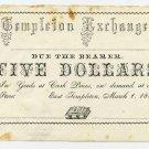 East Templeton, Templeton Exchange, $5, 1858