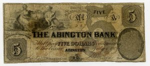 Abington, Abington Bank, $5, July 6, 1859