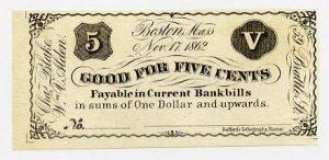 Boston, Charles Blake & William Alden, 5 Cents, 1862