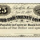Boston, Charles Blake & William Alden, 25 Cents, 1862