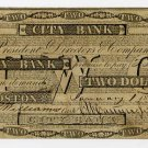 Boston, City Bank, $2, Jan 1, 1841