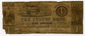 Boston, Fulton Bank, $1, June ?, 1837