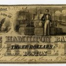 Boston, Hamilton Bank, $3, Jan 28, 1837