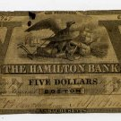 Boston, Hamilton Bank, $5, Feb? 1, 1859
