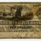 Boston, Hamilton Bank, $10, July 9, 1851