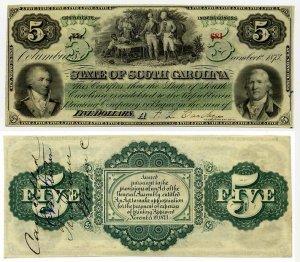 Charleston, State of South Carolina, $5, 1873