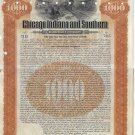 Chicago, Indiana and Southern Railroad $1000 Bond, 1906