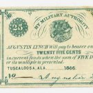 Tuscaloosa, Alabama, Augustin Lynch 25 Cents, 1866