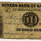 San Francisco, CA, Miner Bank, 50 Cents, 1853