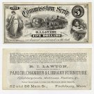 Fitchburg, RI Lawton, $5 Commission Scrip, 1870s