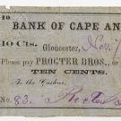 Gloucester, Massachusetts, Procter Brothers, 10 Cents, 1862