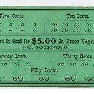 Denver, Colorado, C Johns, $5 Punch Card, 1890s