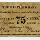 Hartford Bank, Connecticut, 75 Cents, 1816