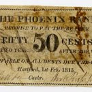 Hartford, Ct., Phoenix Bank, 50 Cents, 1815