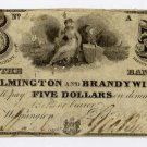 Wilmington, Bank of Wilmington and Brandywine, $5, 1848