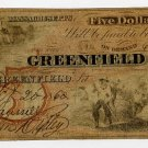 Greenfield, Greenfield Bank, $5, 1860