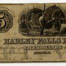 Holyoke, Hadley Falls Bank, $5, 1855