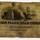 Michigan City, Union Plank Road Company, $5, 1860