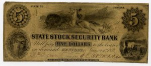 Newport, State Stock Security Bank, $5, 1853