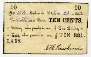Carbondale, S.H. Freeland, 10 Cents, Nov 24, 1862