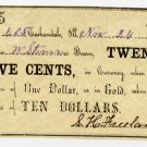 Carbondale, S.H. Freeland, 25 Cents, Nov 24, 1862