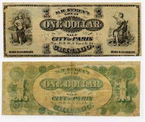 Chicago, Advertising Note, EH Stein's City of Paris, 1 Dollar