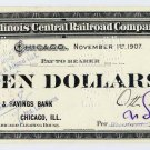 Chicago, Illinois Central Railroad Company, 10 Dollars, 1907