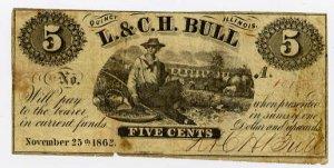 Illinois, Quincy, L & C.H. Bull, 5 Cents, November 25, 1862