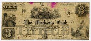 Lowell, Merchants Bank, $3, 1854