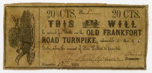 Frankfort, Old Frankfort Road Turnpike, 20 Cents, November 17, 1862