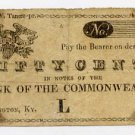 Lexington, Bank of the Commonwealth, 50 Cents, 1810s-20s