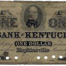 Hopkinsville, Louisville, The Bank of Kentucky, $1, August 15, 1856