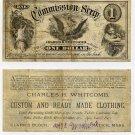 Natick, Massachusetts, Charles H Whitcomb, $1 Commission Scrip