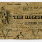 Northampton, Holyoke Bank, $5, Sept 1, 1855